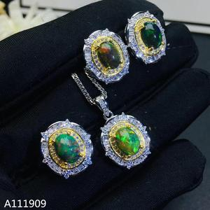 KJJEAXCMY бутик ювелирных изделий 925 с инкрустацией, из чистого серебра натуральный черный ожерелье с опалом кольцо серьги женский костюм Подде...