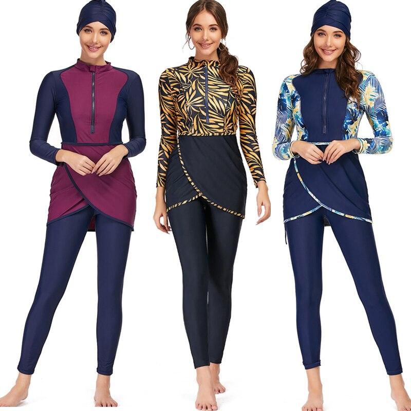 2021 muçulmano banho feminino modesto retalhos hijab mangas compridas esporte maiô 3 pçs islâmico burkinis usar maiô 4xl