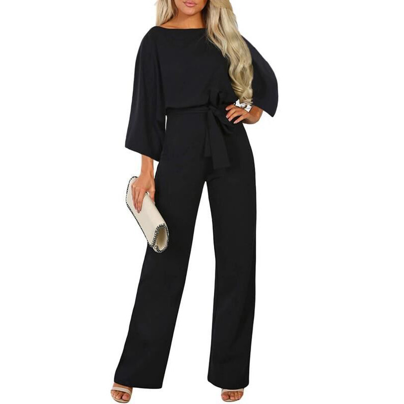 Women New Autumn Summer Romper Jumpsuits Pants Solid Flare Sleeve Office Lady Work Belted Playsuit Holiday Party Outfits Clothes
