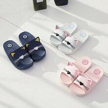 Children Slippers Baby Kids Girls Boys Home Funny Slippers Cute Cartoon Cat Non-Slip Floor Family Flip Flops Summer Beach Shoes