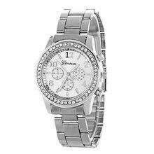 New Trendy Women Crystal Quartz Watch Geneva Three-eye Diamond Watch Luxury Stainless Steel Strap Round Dial Watch все цены