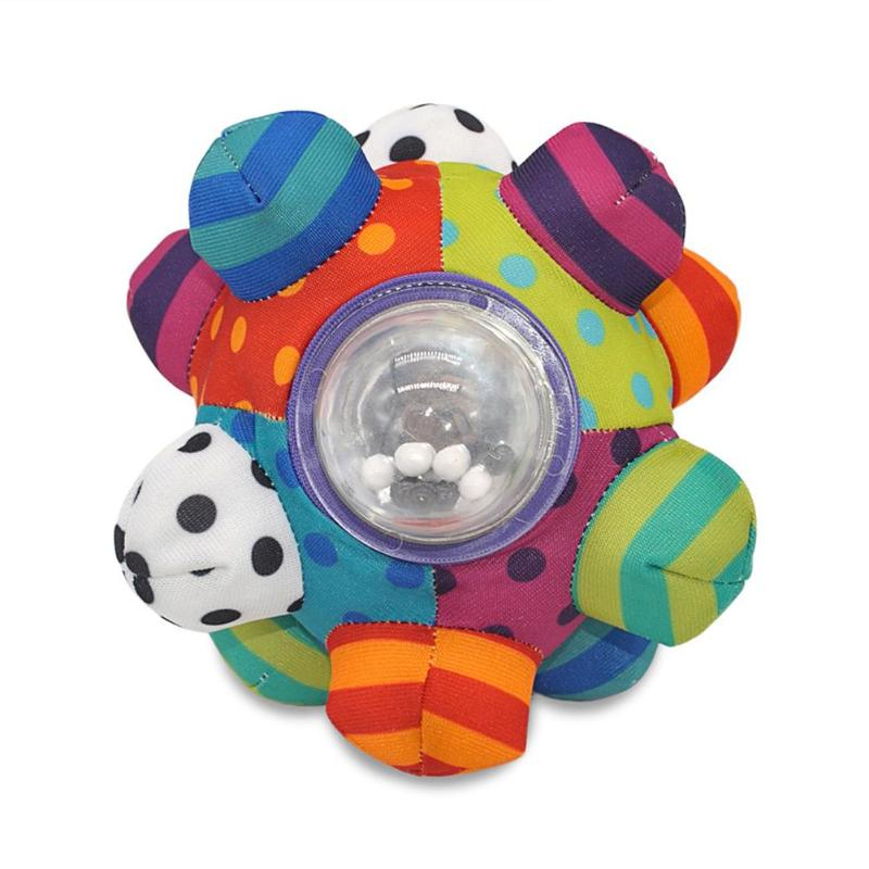 Colorful Hand Ball Teether Toys Plastic Contact Safety Mirror And Color Bead Early Education Supplies Mobile Rattles