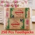 250 шт./пакет зубочистка из натурального бамбука прочные деревянные стоматологические бамбуковые палочки для домашнего ресторана гостиничн...