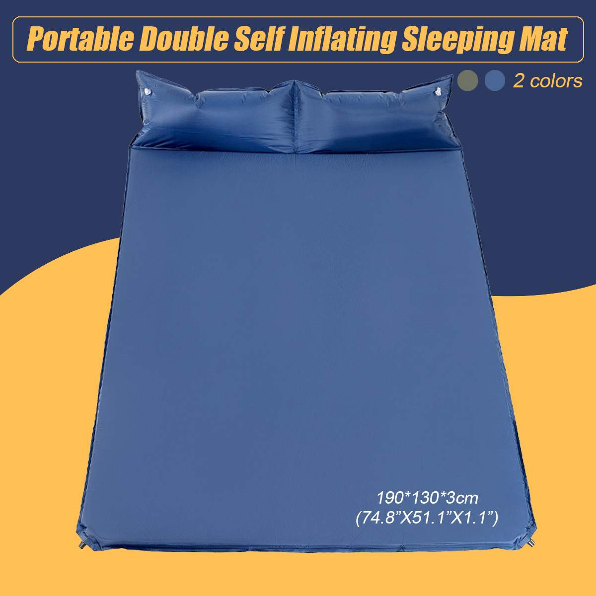 Portable Double Self Inflating Camping Camp Sleeping Mat Pad Cushion Polyester Dampproof Hiking Mattress Pillows 190*130*3cm