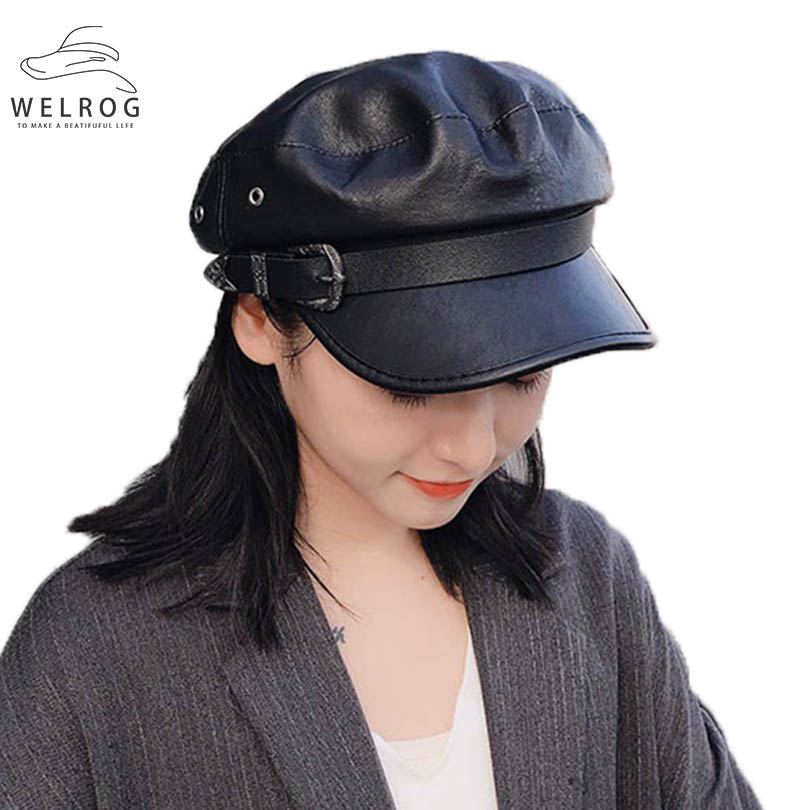 WELROG New Faux Leather Military Caps Autumn Winter Belt Buckle PU Flat Top Visor Hats Solid Cool Women Vintage Black Army Cap