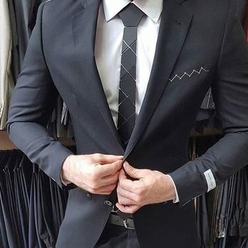 Hexagon Ties Luxury Brand Ins Hot Selling Classy Neckties Matt Black Acrylic Black Ties Lover Gifts Business Party Neck Wear