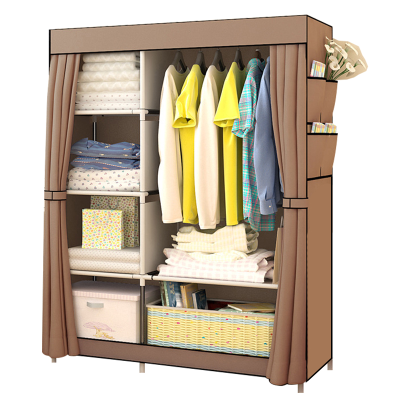 Bedroom Non-woven Cloth Wardrobe Folding Portable Light Clothing Storage Cabinet Dustproof Cloth Closet Home Furniture Wardrobe