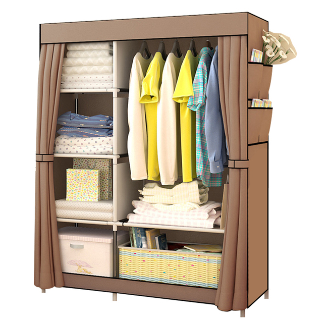 Bedroom Non woven Cloth Wardrobe Folding Portable Light Clothing Storage Cabinet Dustproof Cloth Closet Home Furniture Wardrobe