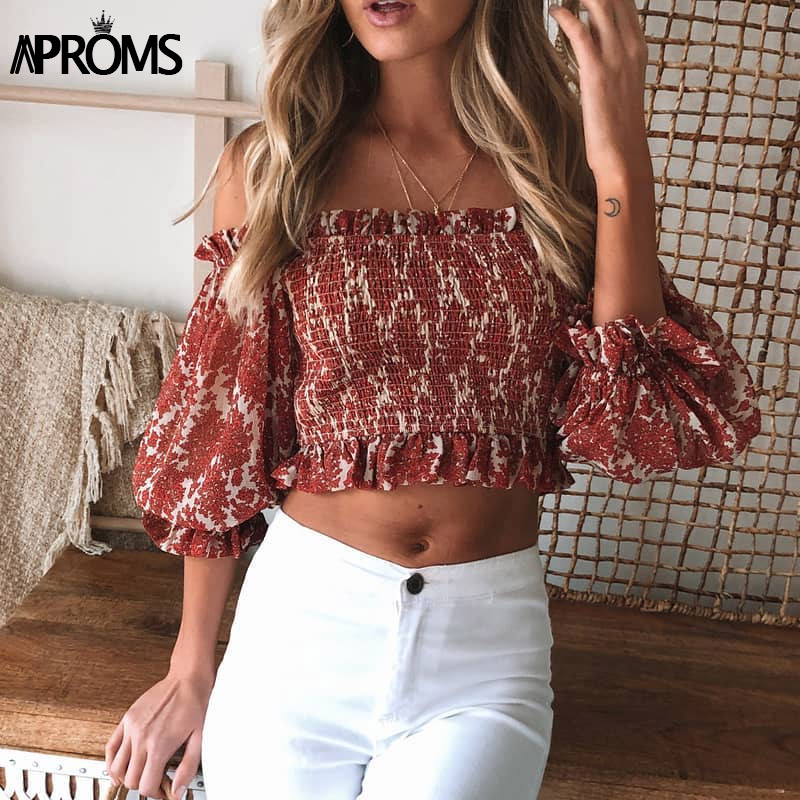 Aproms Elegant Off Shoulder Ruffle Cropped Blouse Women Floral Print Half Sleeve Ruched Chiffon Shirt Ladies Summer Tops 2020