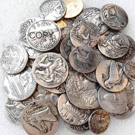 G(01) G(49) mezcla antigua griega 52 Uds monedas de copia chapadas en oro/plata diferentes