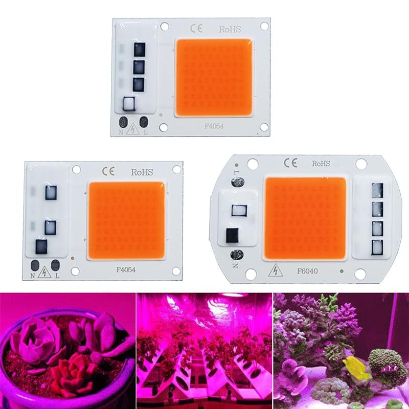 LED Grow COB Light Chip Full Spectrum AC 220V 10W 20W 30W 50W No Need Driver For Growth Flower Seedling Grow Plant Lighting