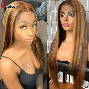 Perruque Lace Frontal Wig 150 Remy naturelle hghsung   Perruques Lace Front Wig, cheveux lisses, reflets ombré, blondes, brunes, 13x6, pre-plucked, 360