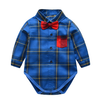 New spring and summer baby boy shirt plaid gentleman bow tie jumpsuit girls shirts