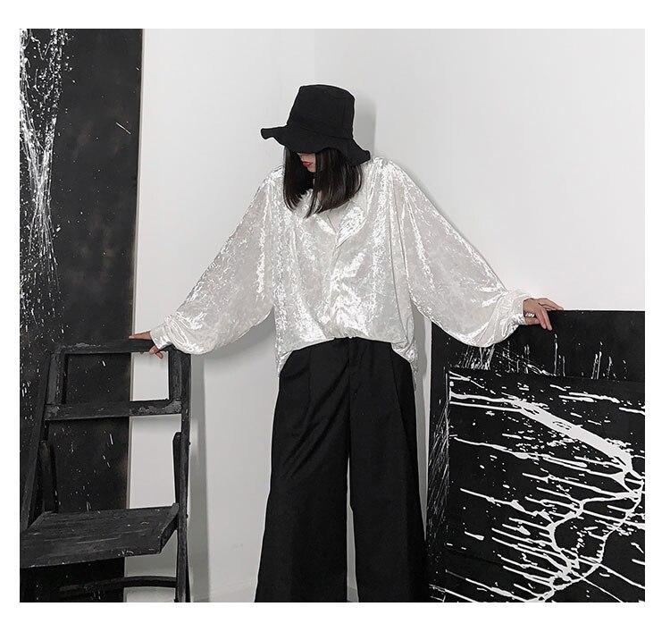 New Fashion Style Shiny White Long Sleeve Blouse Shirt Fashion Nova Clothing