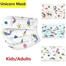 Adulto crianças máscara disposable dos desenhos animados unicórnio impressão rosto máscaras boca capa anti poeira para mulher menina 3 camada respirador navio rápido