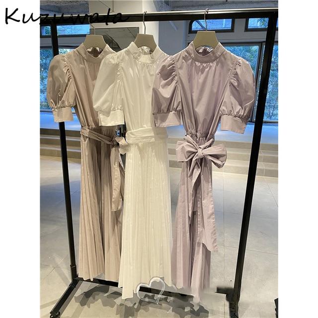 Kuzuwata 2021 Spring Summer Fashion Woman Clothing High Waist Slim Puff Sleeve Rosette Solid Dresses Japanese Sweet Vestidos 2