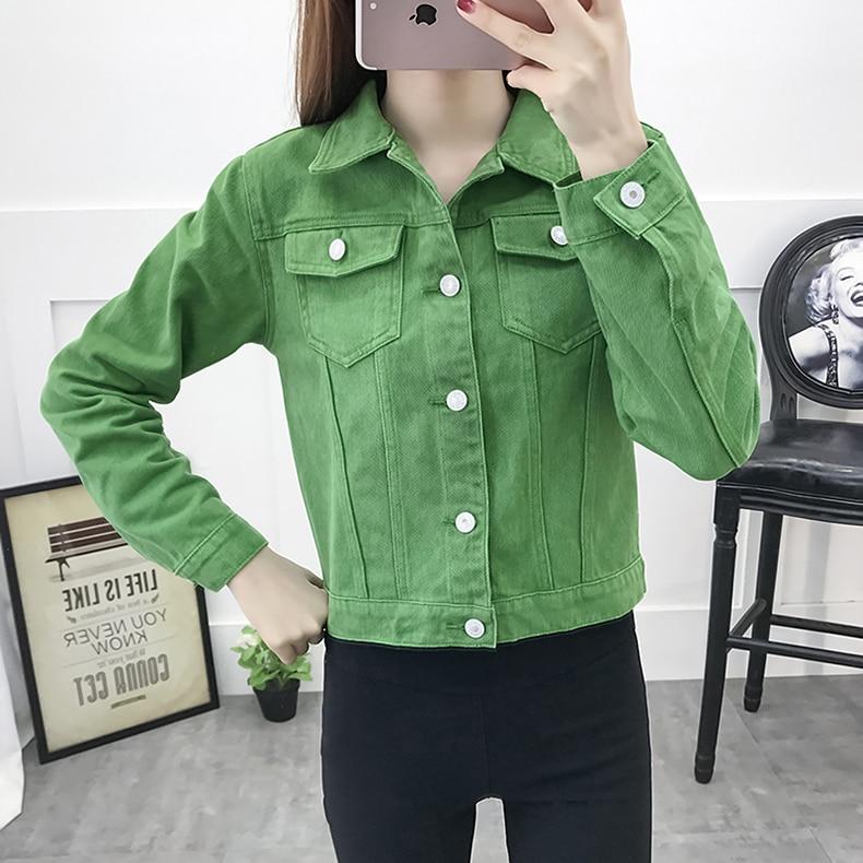 Basic Jeans Jacket Women Green 2019 Autumn Woman Denim Jean Womens Coats Jackets Female Slim Stretch Short Coat Feminina Clothes (2)