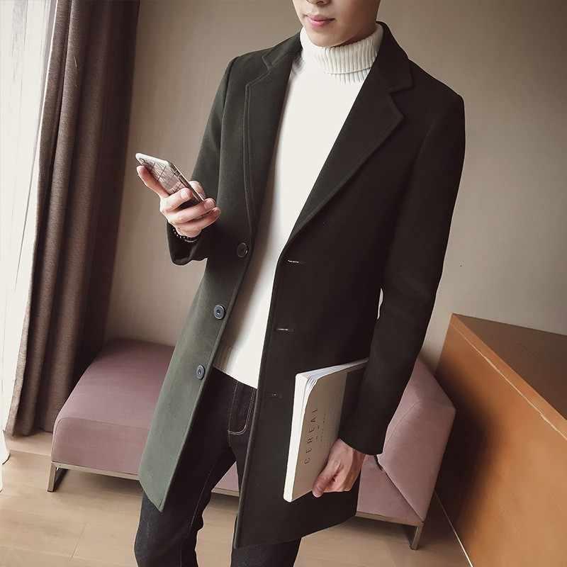 ฤดูใบไม้ร่วงฤดูหนาว Casual Mens Wool เสื้อเปิดลงเสื้อคอยาว Sobretudo Masculino 10 สี PLUS ขนาด M-5XL Overcoat Trench