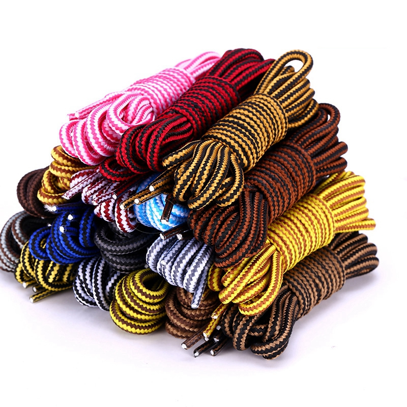 1 Pair Striped Double Color Shoe Laces Round Shoelaces Outdoor Leisure Shoe Lace Unisex High Quality Leather Boot Shoelace