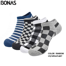 BONAS 4pairs/lot Cotton Men Socks Breathable Mens Colorful Ankle Bamboo Short Sock Thick Gifts Male Random Send