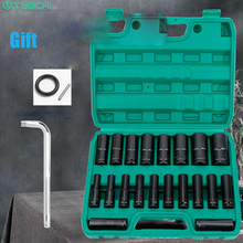 1/2 inch 10/15/20pcs 78mm Length Deep Impact Sockets Set 6 Point Square Hole Electric Wrench Socket with Plastic Box Bent Rod