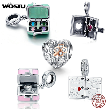 WOSTU Hot Sale 925 Sterling Silver Macaron Candy Box Dangle Charm fit Beads Bracelet Necklace For Women DIY Jewelry FIC663 - discount item  65% OFF Fine Jewelry