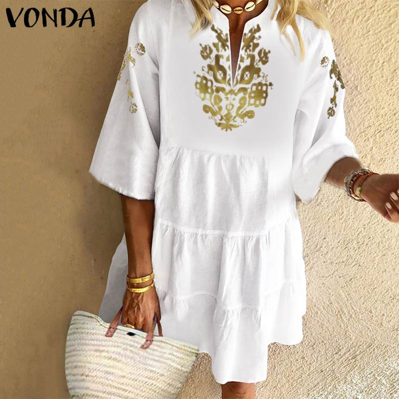 Summer Sundress Bohemian Women Vintage Floral Printed Dress VONDA 2020 Sexy Ruffles Mini Dress Holiday Beach Vestido Casual Robe