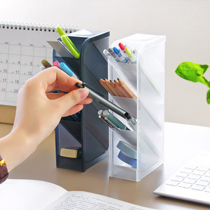 Oblique Insertion Type Capacity Desk Pen Holder Pencil Makeup Storage Box Desktop Organizer Stand Case Office School Stationery
