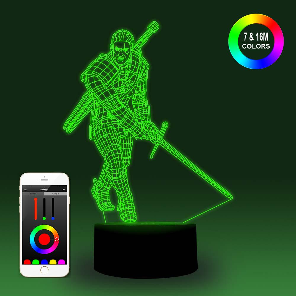 NiteApps 3D Witcher Night Light Desk Table Illusion Decoration Lamp Holiday Birthday Gift APP/Touch Control