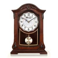 European Solid Wood Table Clock Living Room Music Retro Mute Pendulum Wooden Desk Clock Vintage Large Table Clock Ornaments Gift