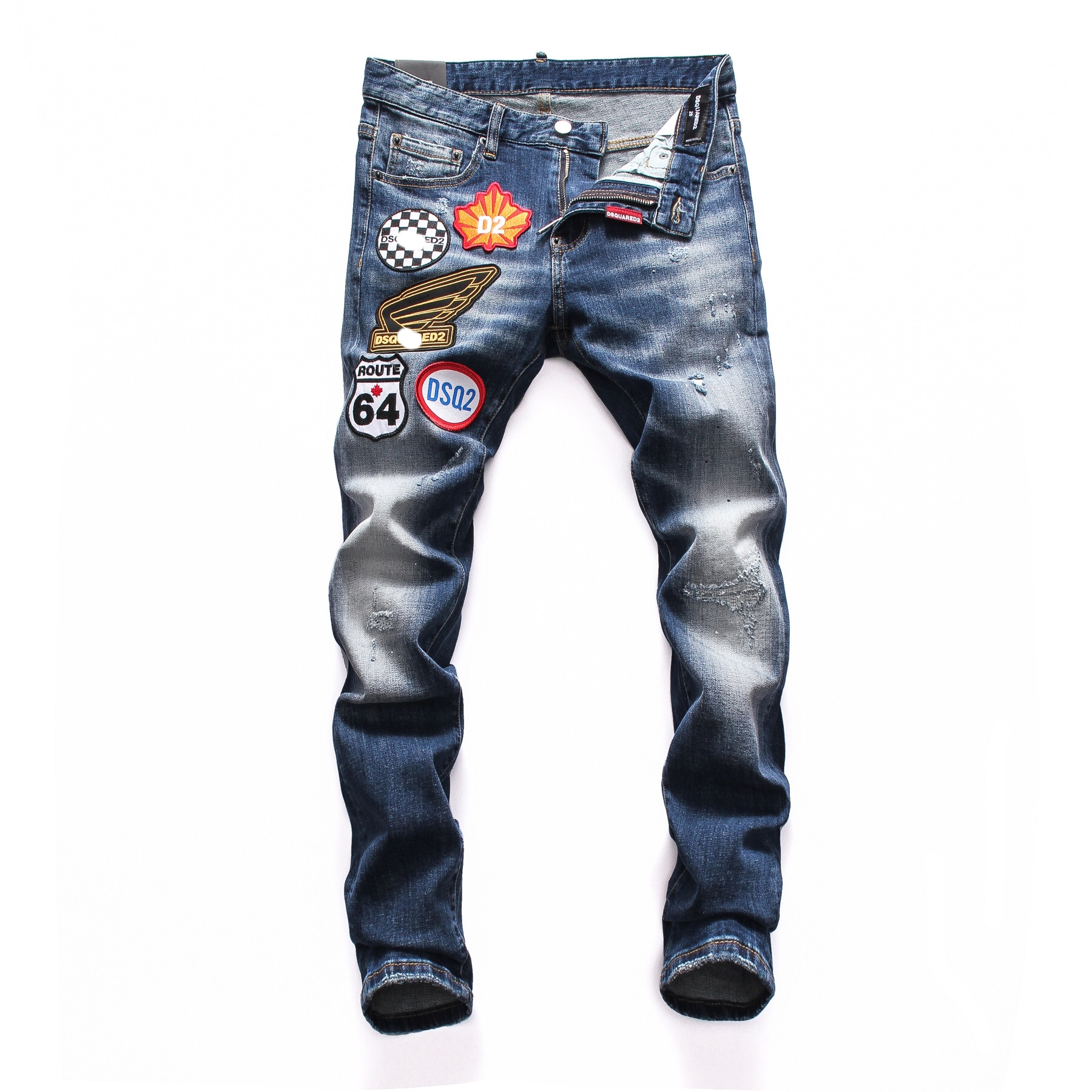 European American Style Fashion Men Hole Jeans Famous Brand Straight Grey Hole Button Slim Brand Jeans Pencil Pants For Men