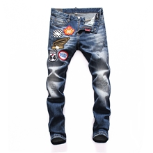 European American Style Fashion men hole jeans famous brand straight grey hole button slim brand jeans Pencil Pants for men european and american style slim straight jeans new brand colorful cloth stitching hole water wash denim trousers size 29 38