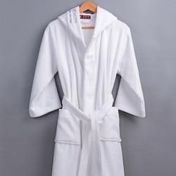 Классический зимний халат для мужчин с капюшоном, 100% хлопок, махровое полотенце, длинный халат для мужчин, для гостиницы, для дома, толстый т...