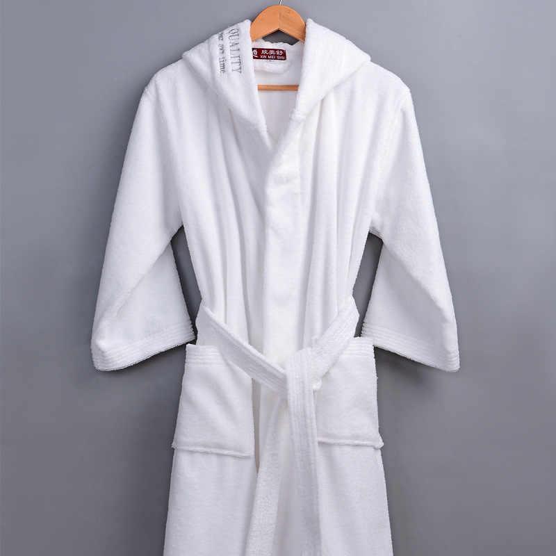 クラシック冬のローブ男性男性フード付き綿 100% テリータオルロングバスローブ男性のホテルホーム厚い暖かいドレッシングガウン着物ローブ