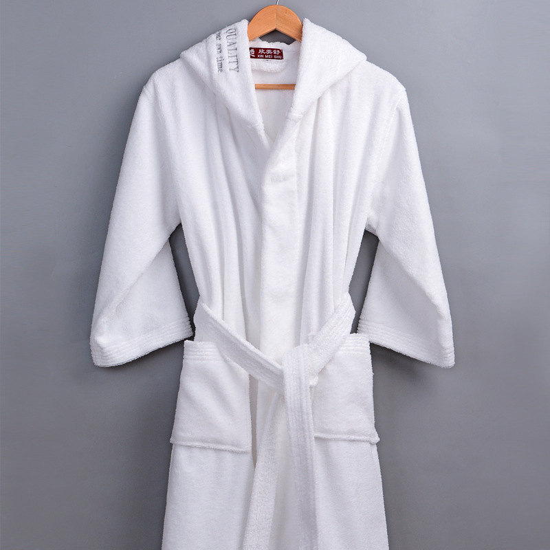 Classic Winter Robe Men Male Hooded 100% Cotton Terry Towel Long Bathrobe Men's Hotel Home Thick Warm Dressing Gown Kimono Robes