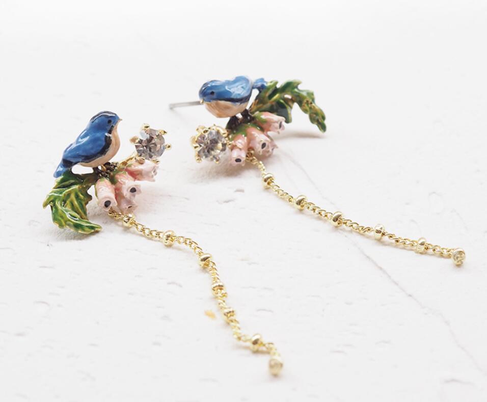 Image 2 - CSxjd 2019 New Enamel Glaze Forest Series Fawn Rabbit Butterfly  Gem Flower Necklace womens jewelry, wedding, party accessoriesJewelry  Sets