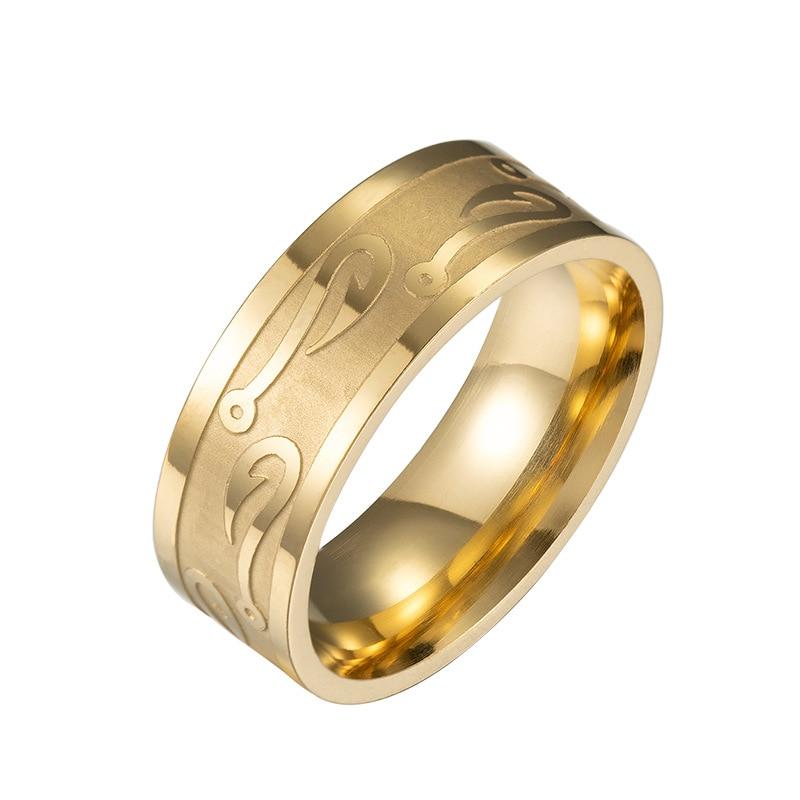 Personal Hook Design Men's Ring Cool Gold Black 316L Stainless Steel Rings Women Man Wedding Titanium Ring Promise Jewelry
