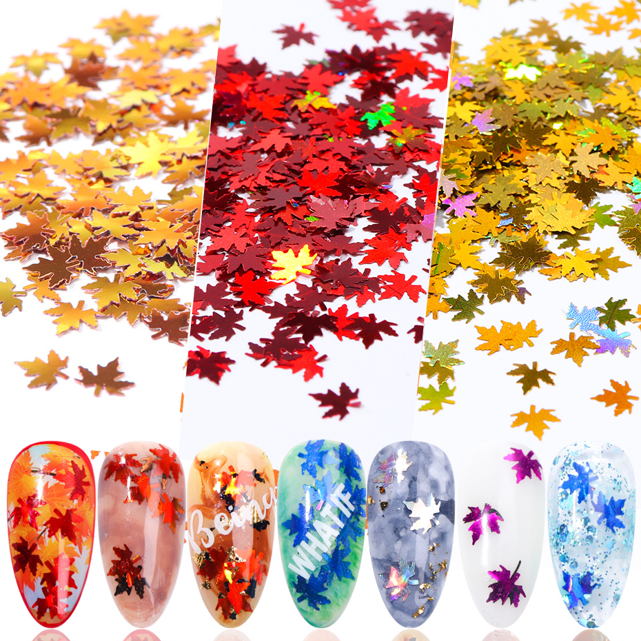 Fall Nails Glitter Flakes Sequins Maple Leaf Dazzling Mirror Sheet Sticker for Manicure Nail Decor Paillette (2)