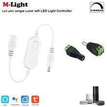 Tuya mini monocromático wifi dimmer controlador led pode ser escurecido 5050 luzes de tira controlador vida inteligente app interruptor para eco google casa