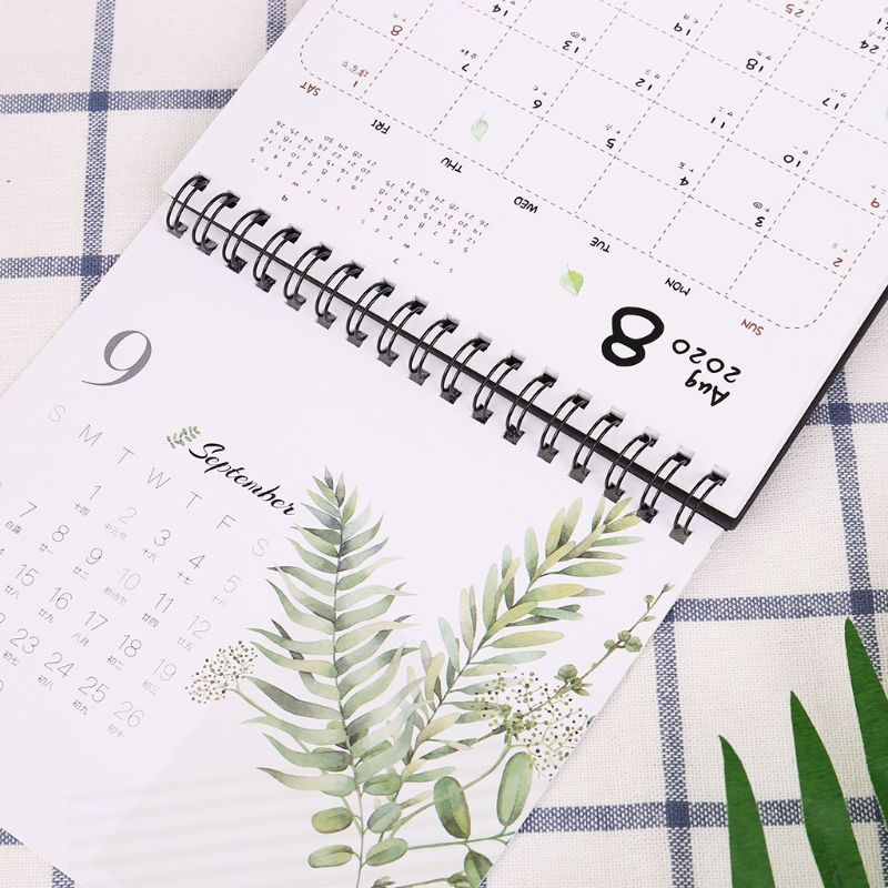 2020 Colorful Pattern Desktop Standing Paper Double Coil Calendar Memo Daily Schedule Table Planner Yearly Agenda Organizer LX9A