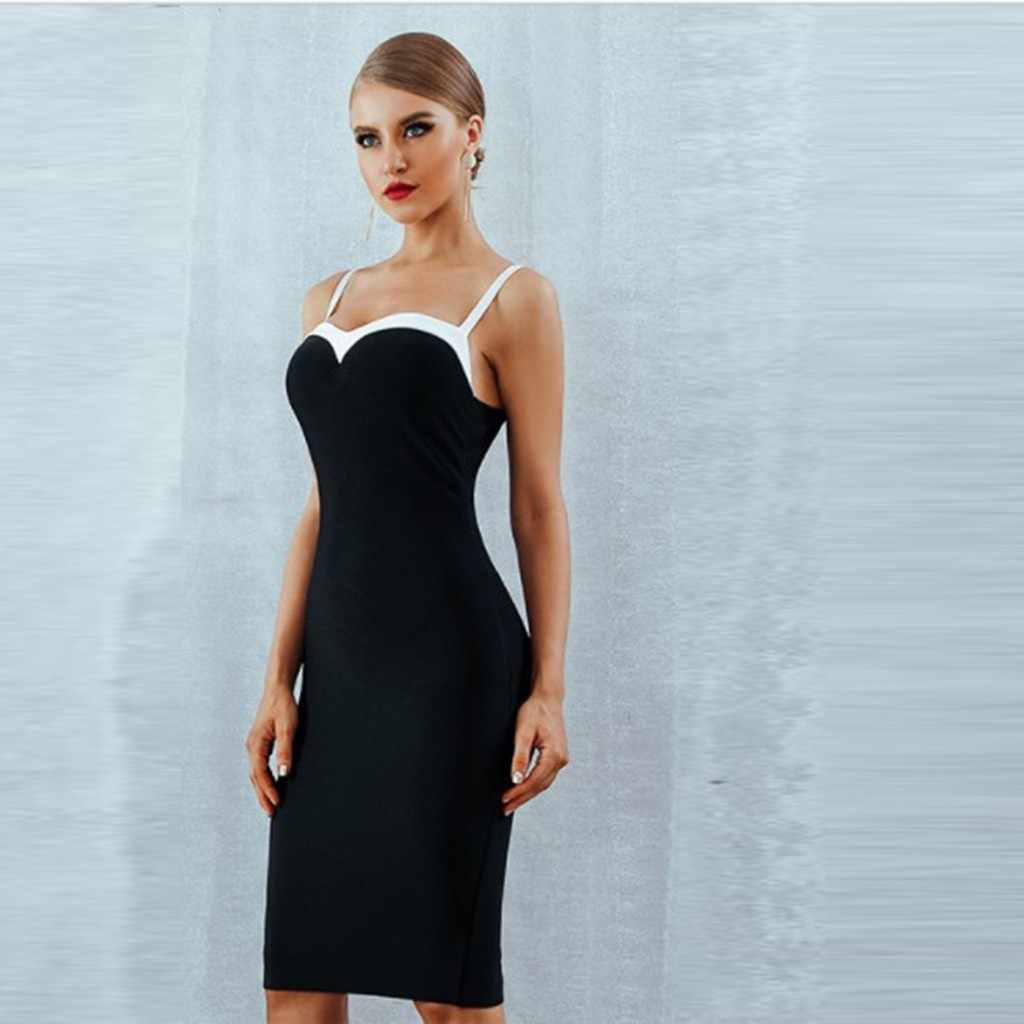 Sexy 2020 Nieuwe Zomer Bandage Jurk Vrouwen Vestido Bodycon Kant Spaghetti Strap Club Dress Midi Celebrity Runway Party Dress # g30