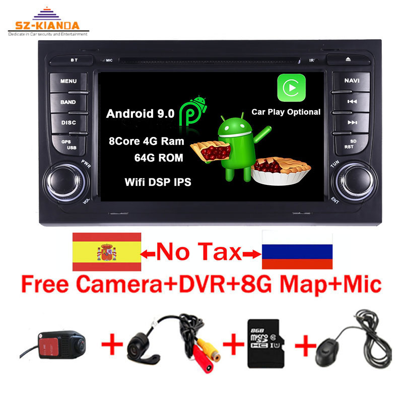 Android 9.0 Car GPS Navigation For <font><b>Audi</b></font> <font><b>A4</b></font> <font><b>B6</b></font> B7 S4 B7 <font><b>B6</b></font> RS4 B7 SEAT Exeo dvd player radio Wifi Bluetooth Car <font><b>Multimedia</b></font> Player image