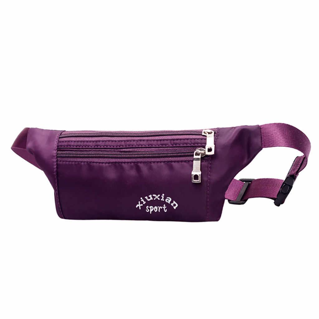 ユニセックスウエストバッグナイロンファニーパック女性盗難防止ランニングポケット防水クロスボディ胸バッグ女性のための #5 $