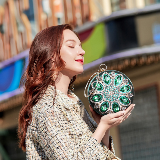 Green Crystal women Purse and Handbag | Free shipping | Online Brands