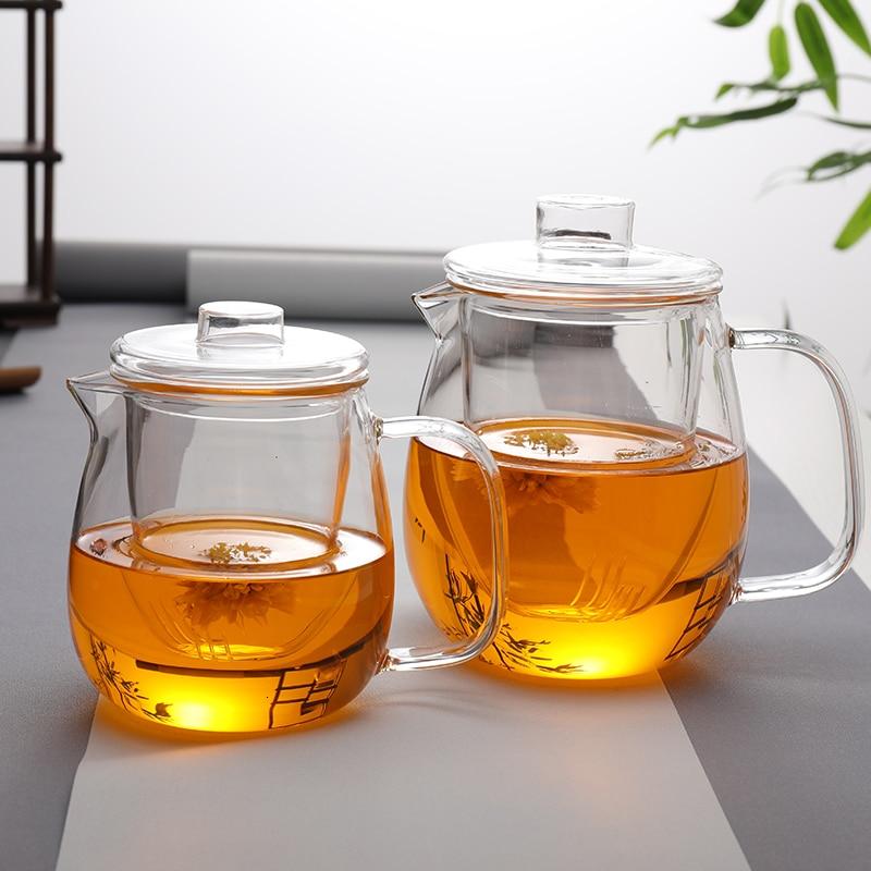 زجاج بوروسيليليك مرتفع براد شاي شفاف غلاية إينفوسير إبريق الشاي مع فلتر مقاومة للحرارة لعصير الماء الساخن المنزلية لطيف