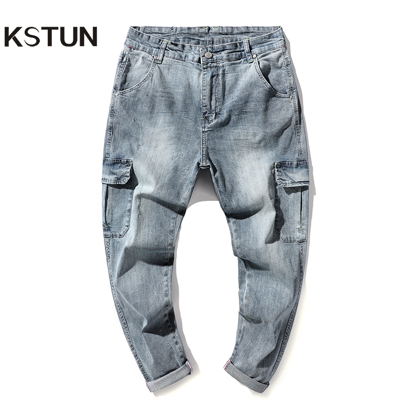 Harem Jeans Men Cargo Pants Jeans Loose fit Thin Stretch Light Blue Retro Multiple Pockets Haren Jeans for Man Streetwear Big 42