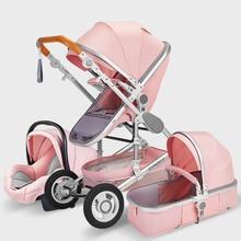 купить High Landscape Baby Stroller 3 in 1 Hot Mom Pink Stroller Luxury Travel Pram Carriage Basket Baby Car seat and Stroller Trolley дешево