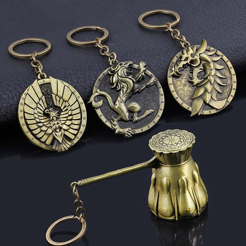 SG New Game Dark Souls Shield Sword Hammer Weapon Keychains  Eagle Lion Dragon Badage Car Keyring Men Cosplay Jewelry