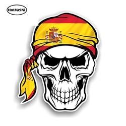Hotmeini 13cm x 10.7cm cabeça do crânio do pirata do motociclista gótico bandana & espanha país espanhol bandeira vinil carro adesivo