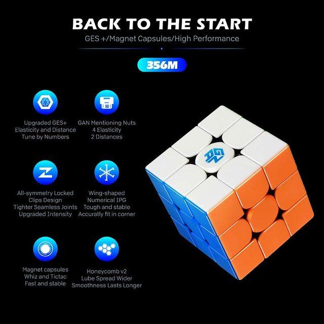 Newest GAN356 M 3x3x3 Magnetic magic Cube stickerless 3x3 Speed Cube GAN 356 Professional Puzzle Gan Cube Educational Toys 2
